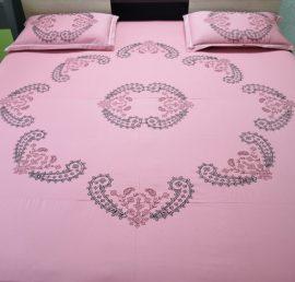 SurJ Peachish Pink Kasuti (II)Hand Embroidered Bedsheet